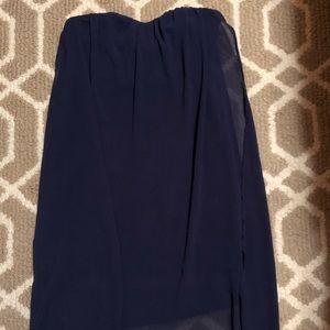Lulu's Navy Blue Strapless Mini Dress